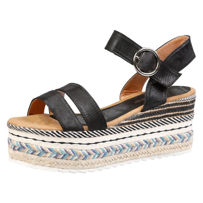 Gabriella Platform Espadrille Sandals in Black