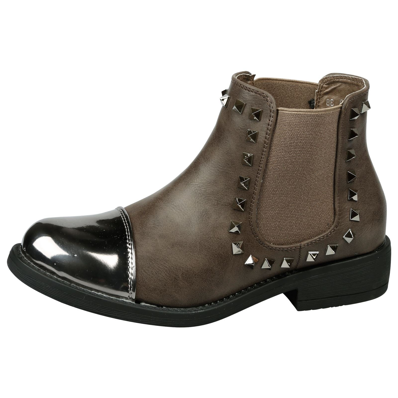 Ciara Studded Chelsea Boots in Khaki Brown Faux Leather