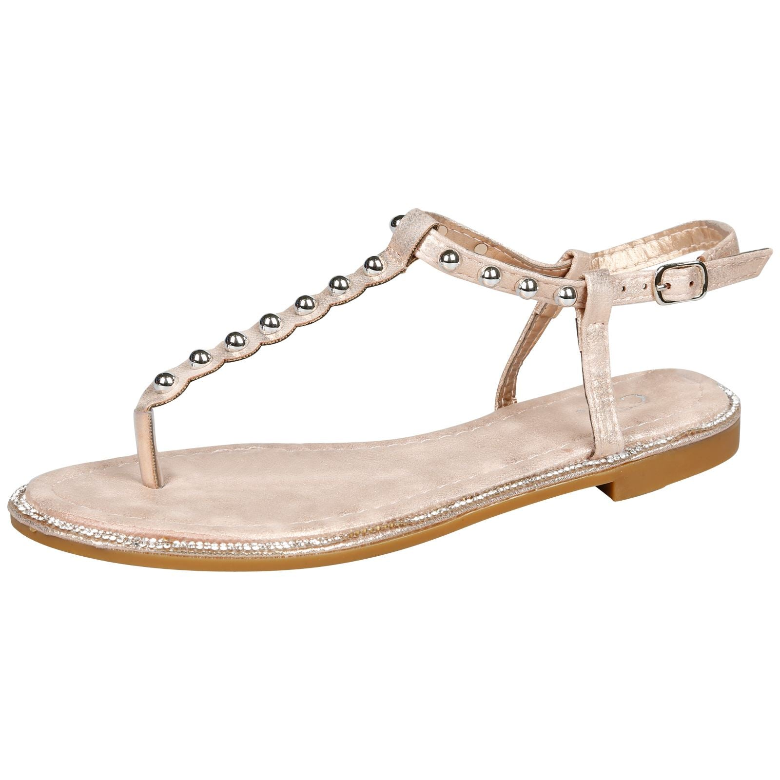 Lae Studded T Bar Sandals in Rose Gold Shimmer