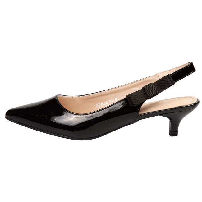Alora Slingback Pumps in Black Patent - Feet First Fashion