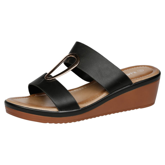 Maude Large Size Wedge Sandals in Black Faux Leather - Feet First Fashion