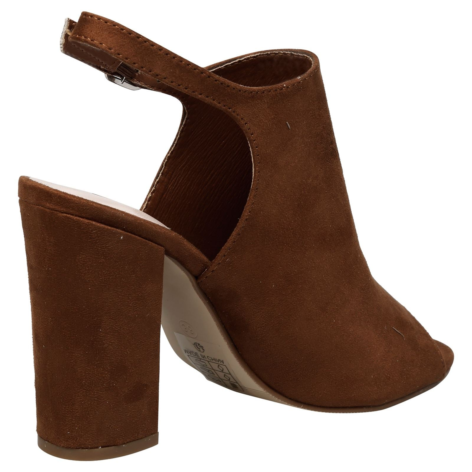 Felicia Slingback Peep Toe Ankle Boots in Camel Faux Suede
