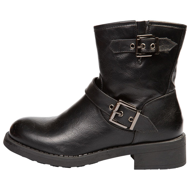 Valeria Biker Ankle Boots in Black Faux Leather