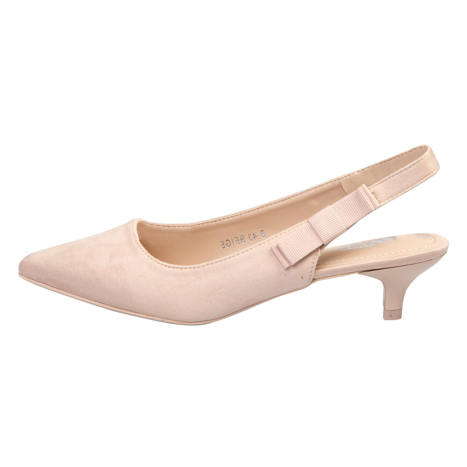 Alora Slingback Pumps in Beige Nude Faux Suede - Feet First Fashion