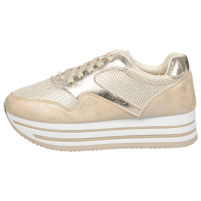 Dolores Stripe Sole Flatform Trainers in Gold