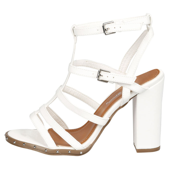Tianna Block Strappy Heel Gladiator Sandals in White Faux Leather