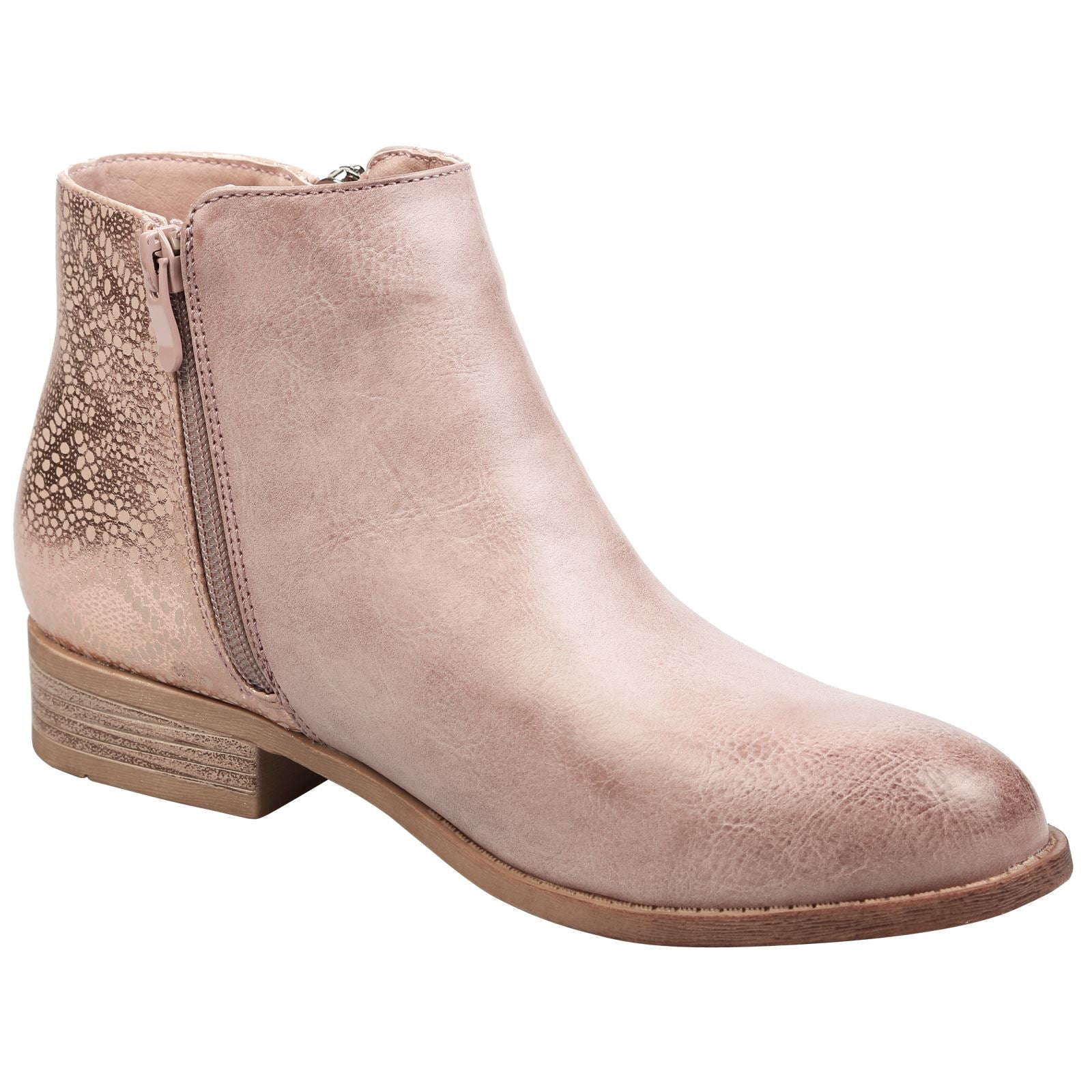 Evangelista Two Tone Zip Detail Ankle Boots in Pink Faux Leather