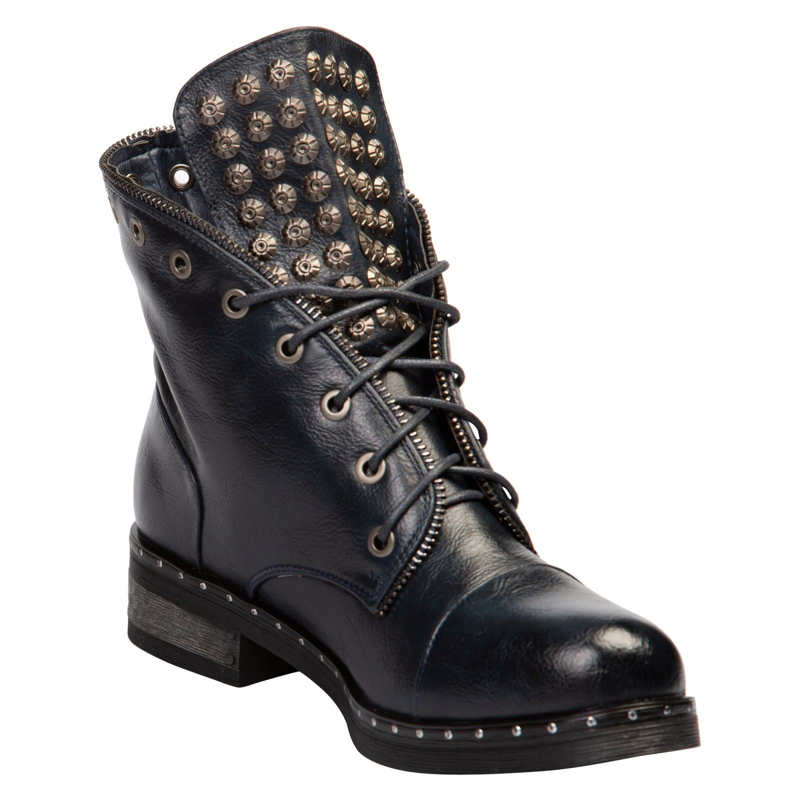 Finley Studded Ankle Boots in Navy Blue Faux Leather - Feet First Fashion