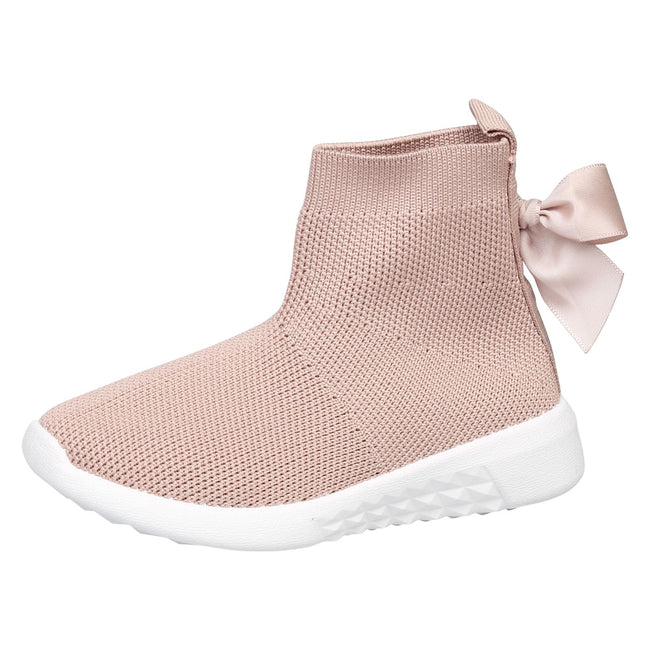 Amia Girls Knit Trainer Boots in Pink - Feet First Fashion