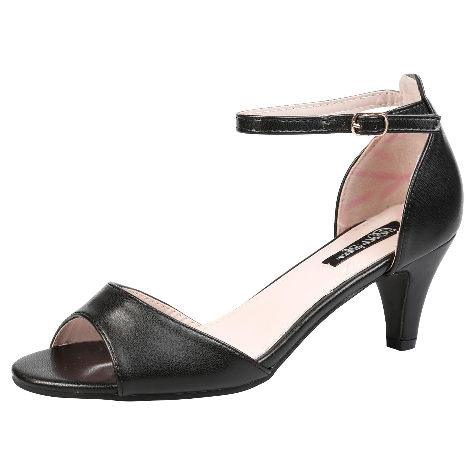 Laurie Low Heel Ankle Strap Sandals in Black Faux Leather