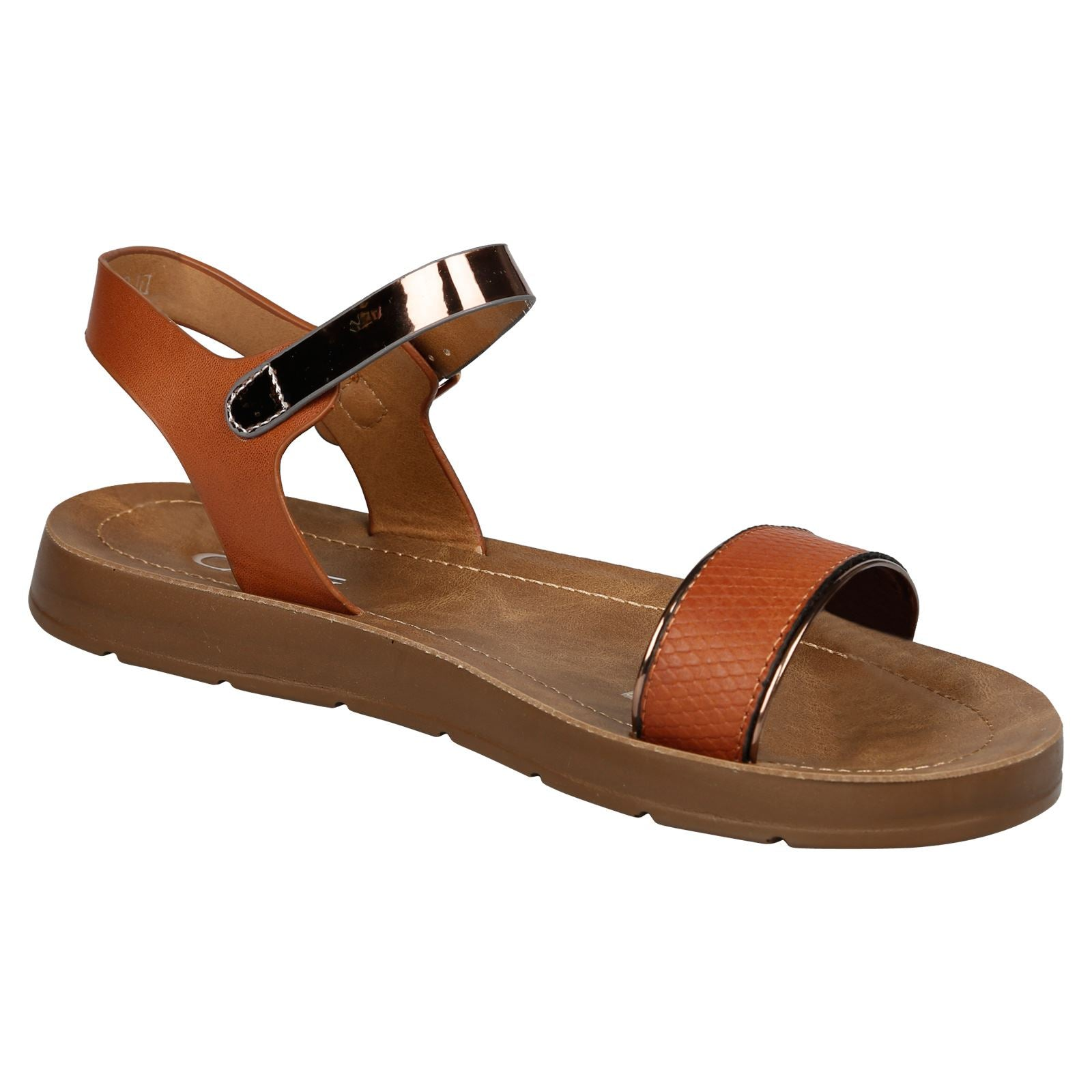 Joselyen Two Tone Footbed Sandals in Camel