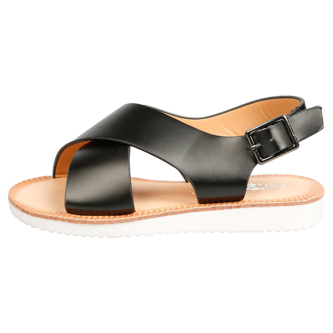 Rikki Girls Slingback Sandals in Black Faux Leather - Feet First Fashion