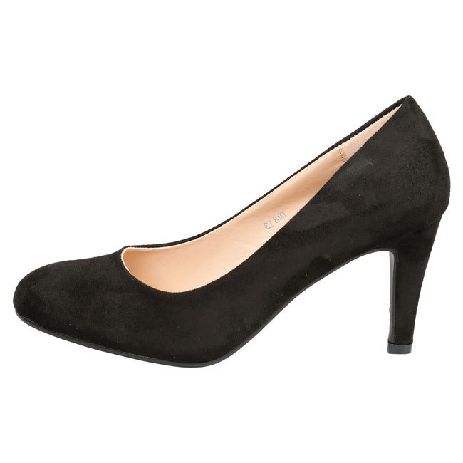 Amiya Slim Heeled Shoes in Black Faux Suede - Feet First Fashion