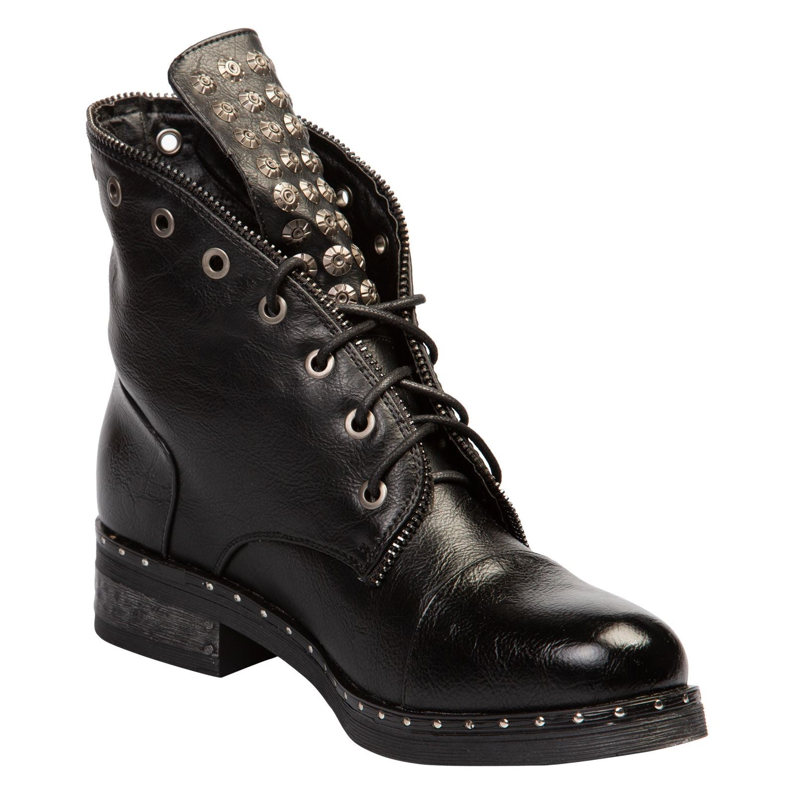 Finley Studded Ankle Boots in Black Faux Leather - Feet First Fashion