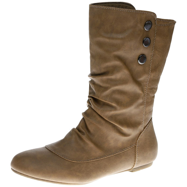 Eileen Flat Mid Calf Boots in Camel Faux Leather