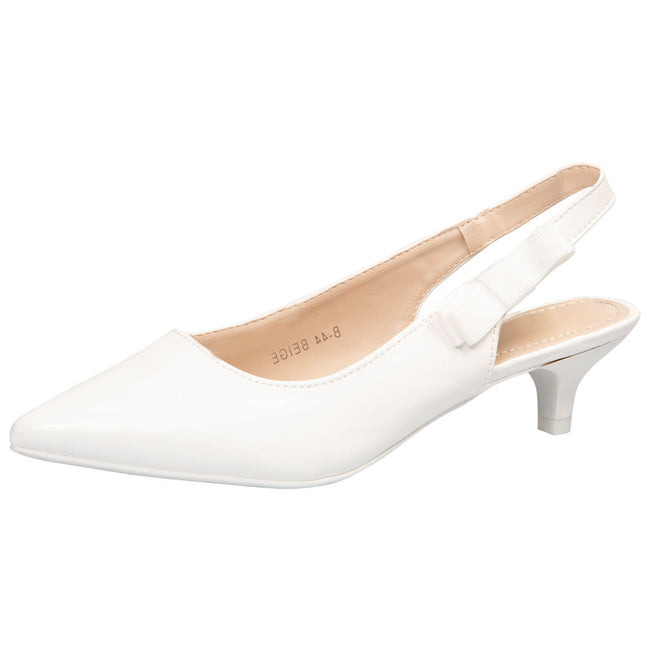 Alora Slingback Pumps in White Patent - Feet First Fashion