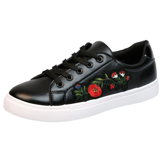 Halle Floral Embroidered Skater Pumps in Black Faux Leather
