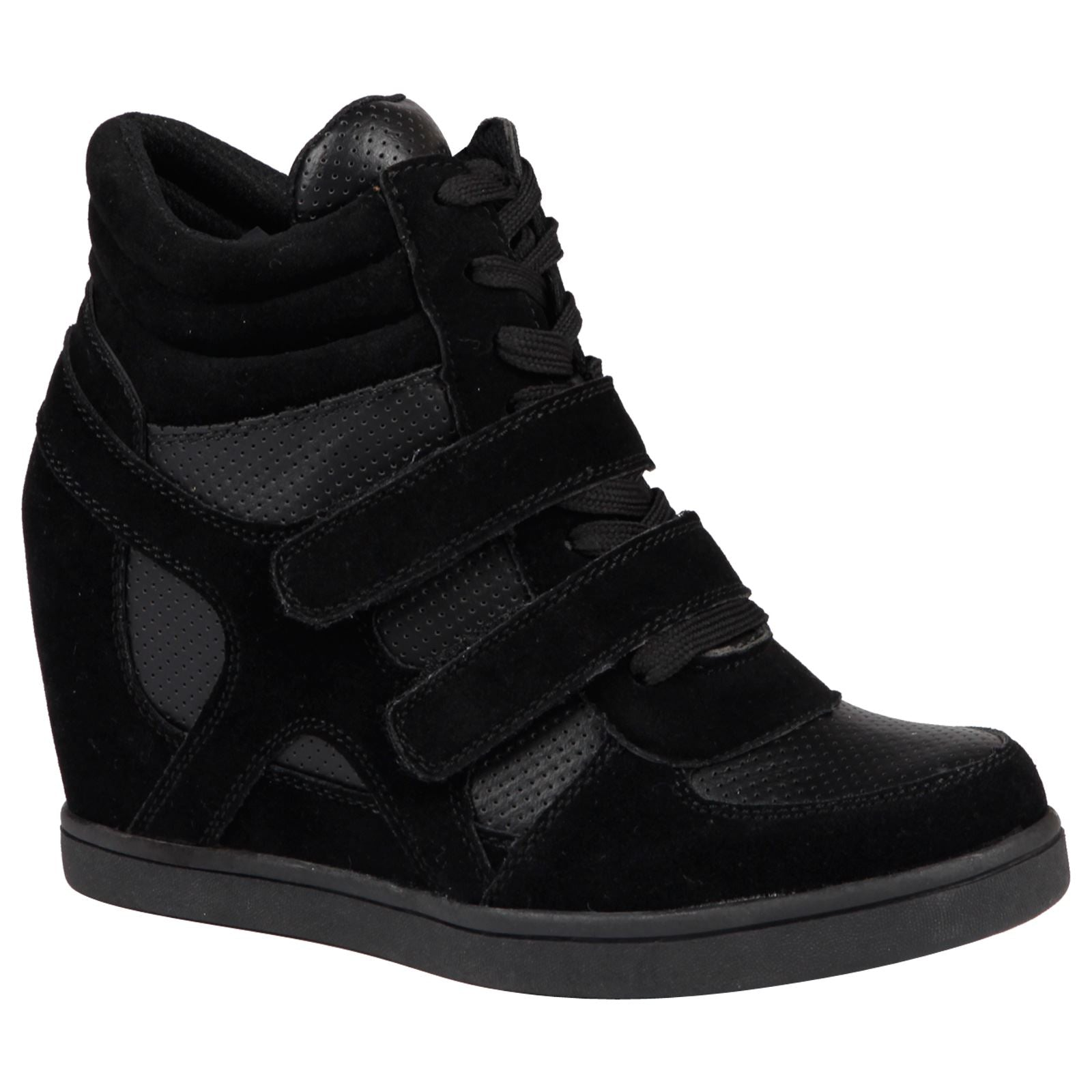 Thea Hidden Wedge Lace Up Trainers in Black
