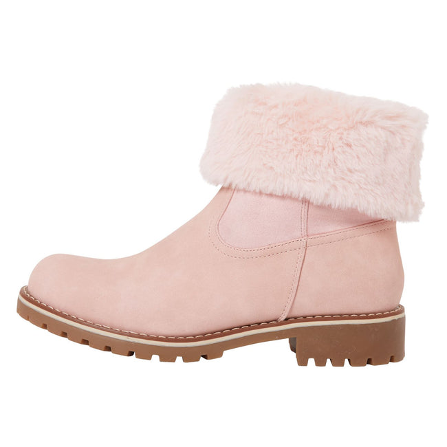 Annalee Fur Lined Ankle Boots in Pink Nubuck - Feet First Fashion