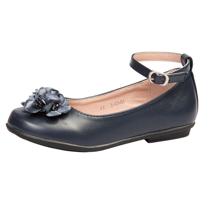 Nellie Girls Floral Ballerinas in Navy Blue Faux Leather - Feet First Fashion