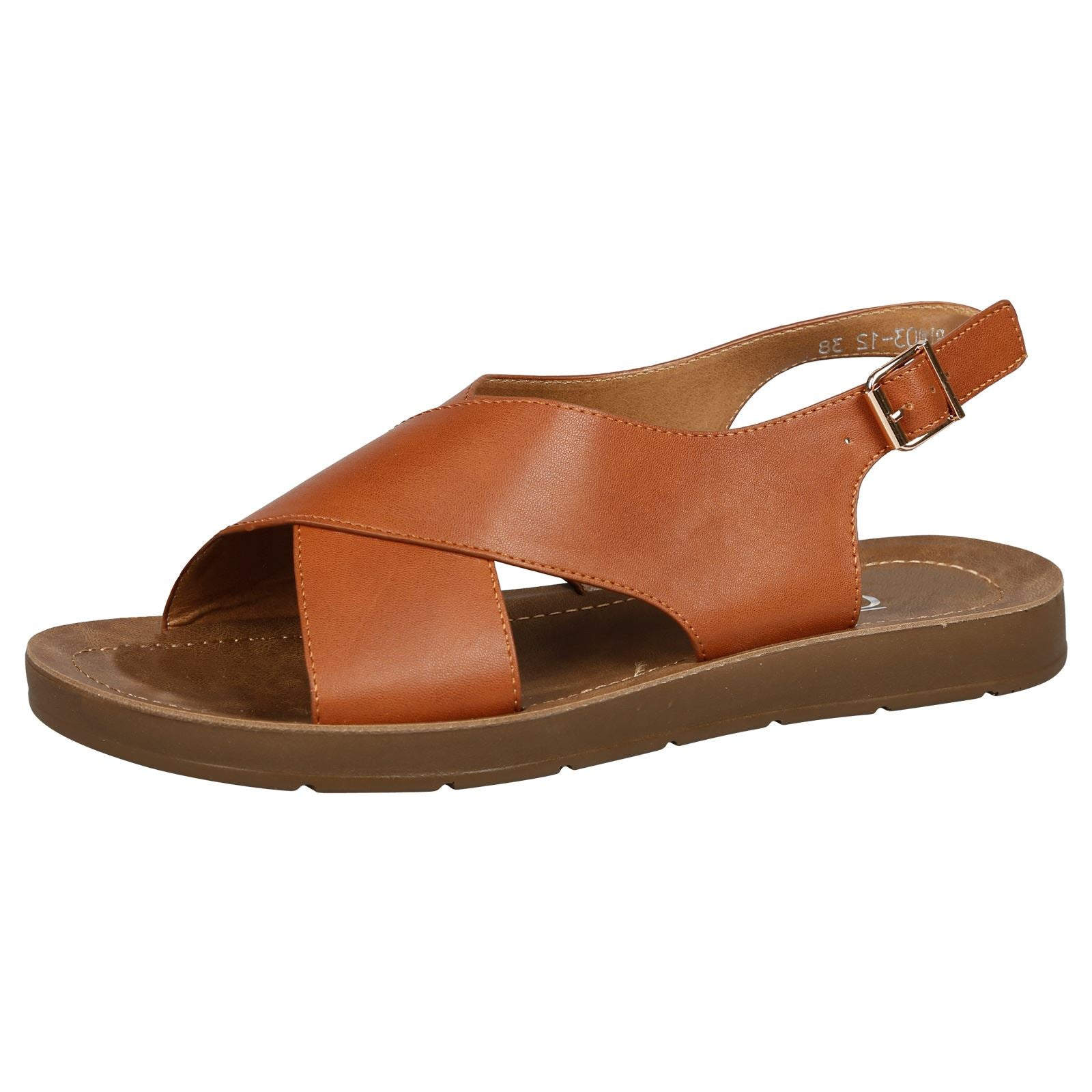 Nila Footbed Slingback Sandals in Camel Faux Leather