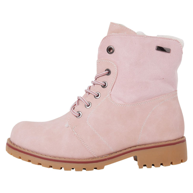 Monserrat Zip Up Combat Boots in Pink Nubuck