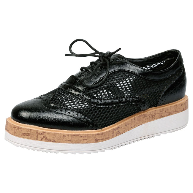 Alana Mesh Side Flatform Brogues in Black