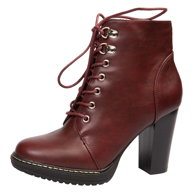 Reese Block Heel Ankle Boots in Wine Red Faux leather