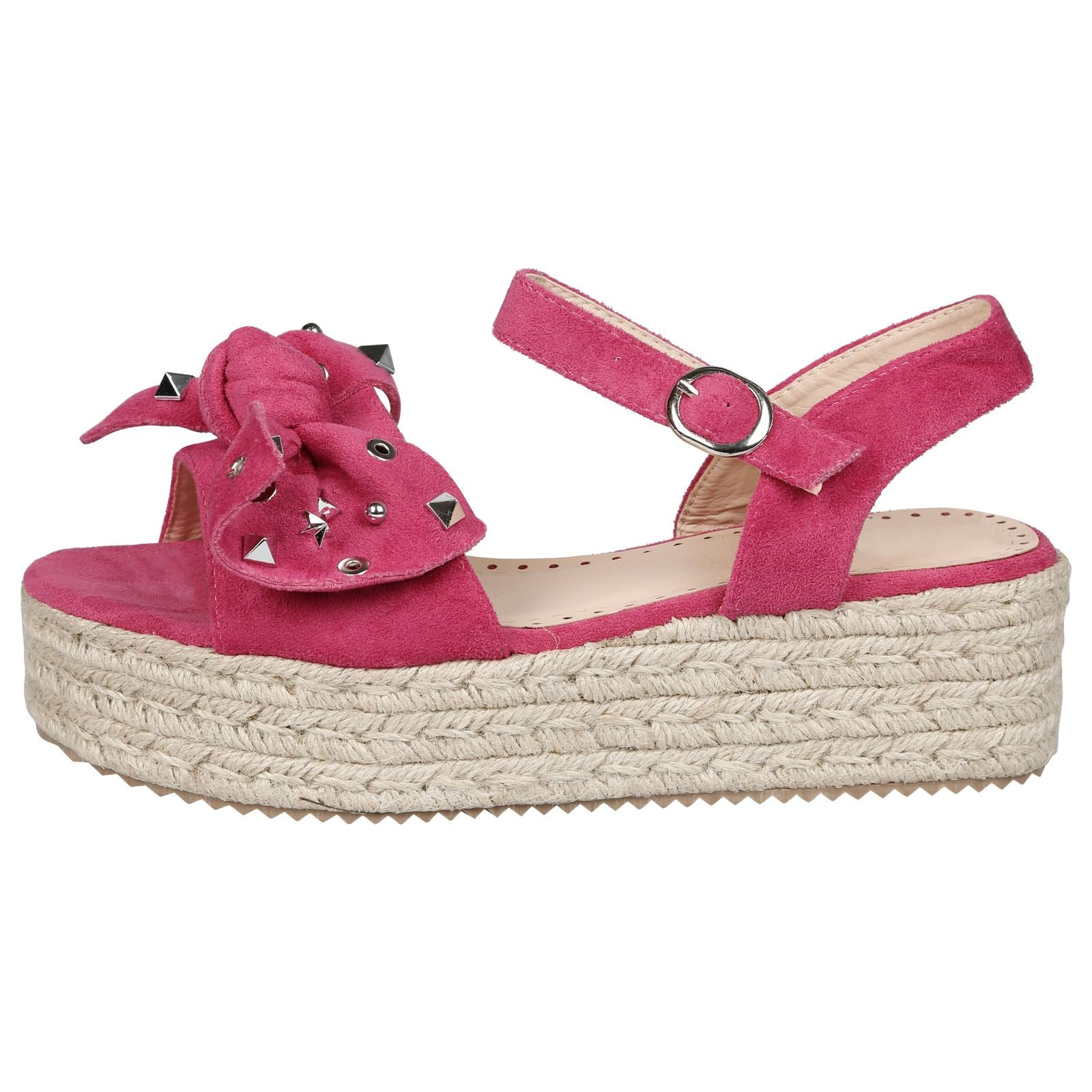 Selma Studded Bow Flatform Espadrille Sandals in Red Faux Suede