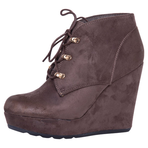 Jasmine Two-Tone Ankle Boots in Wine Red