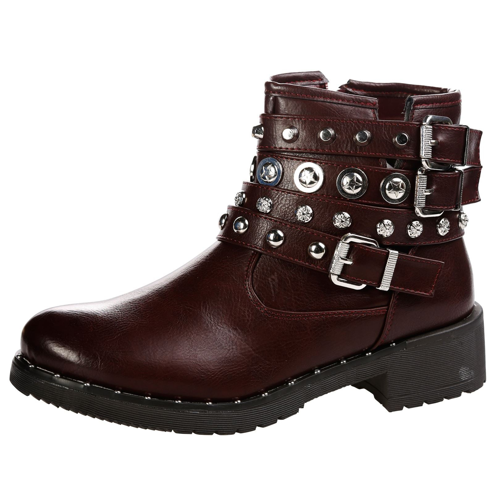 Lena Strappy Studded Biker Ankle Boots in Wine Red Faux Leather