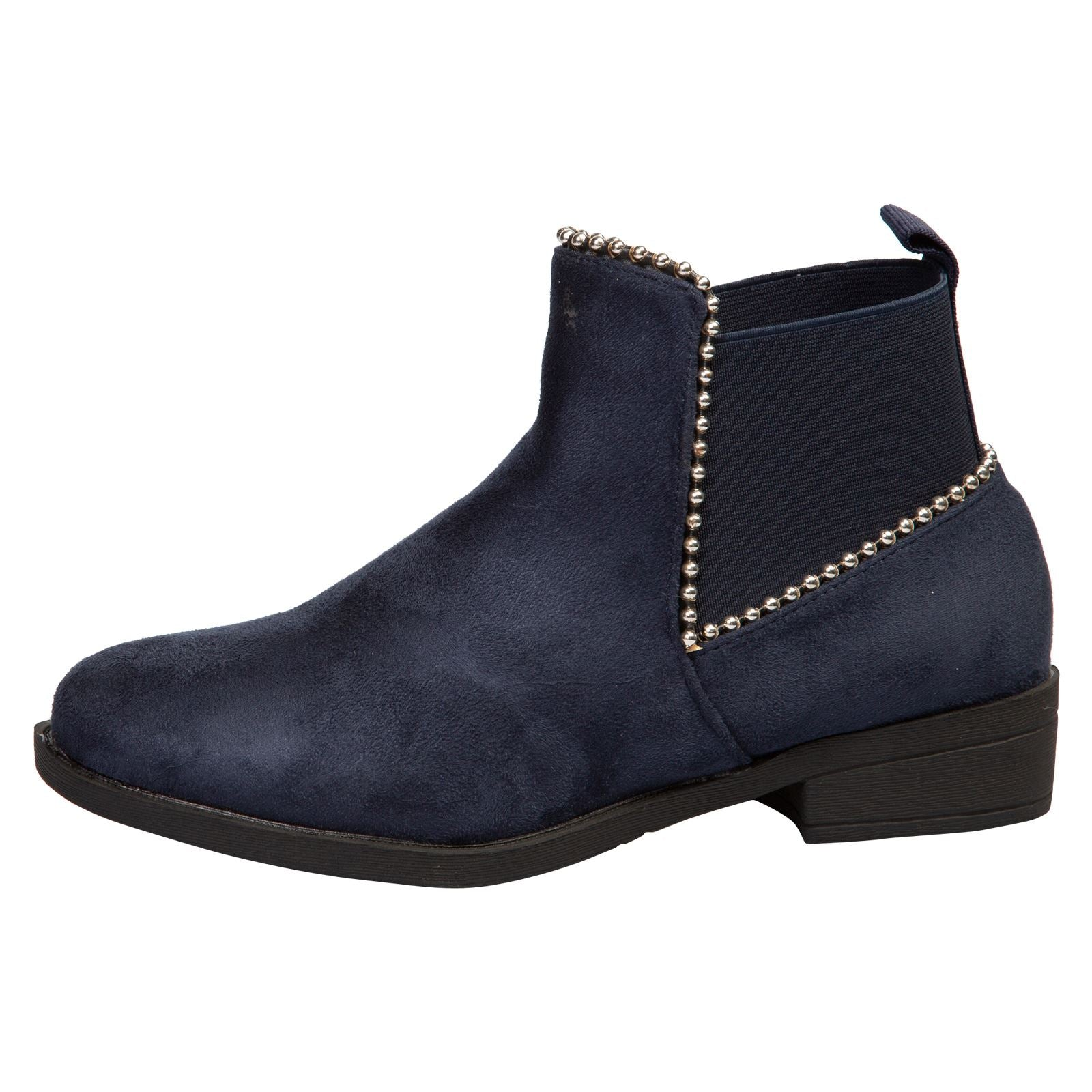 in Navy Blue Faux Suede