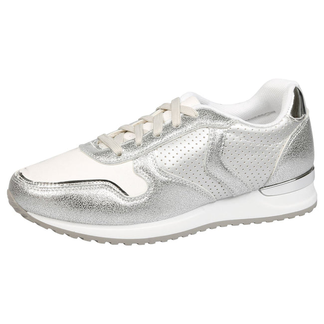 Shanon Sporty Lace Up Trainers in Silver