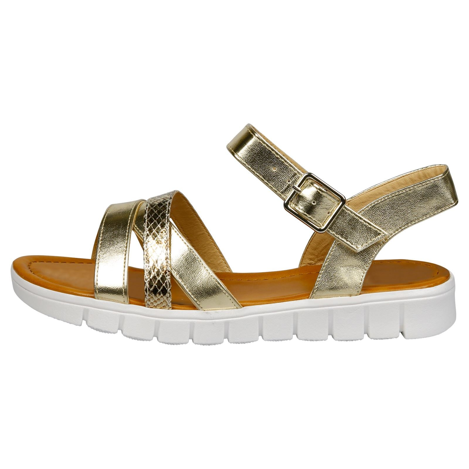 Rosalie Flat Strappy Sandals in Gold