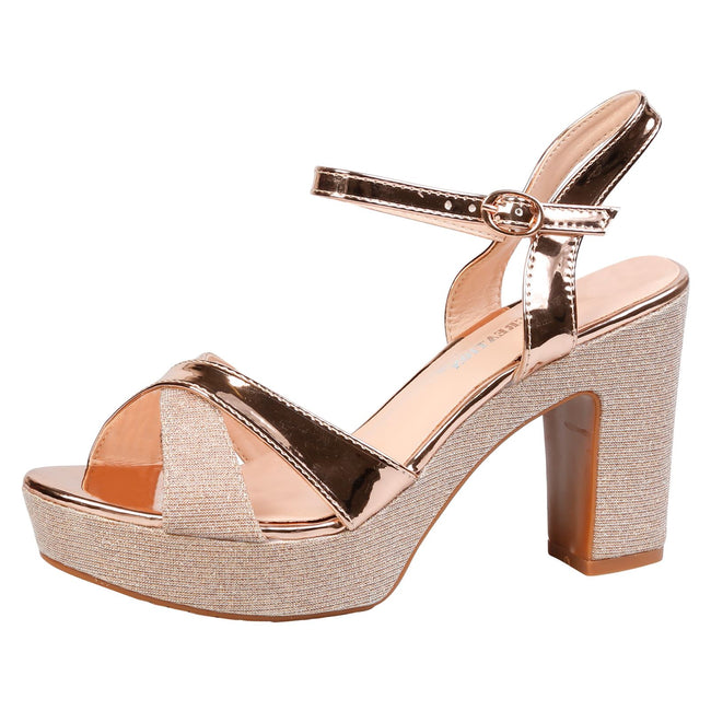 Shawna Demi Wedge Platform Sandals in Rose Gold Patent
