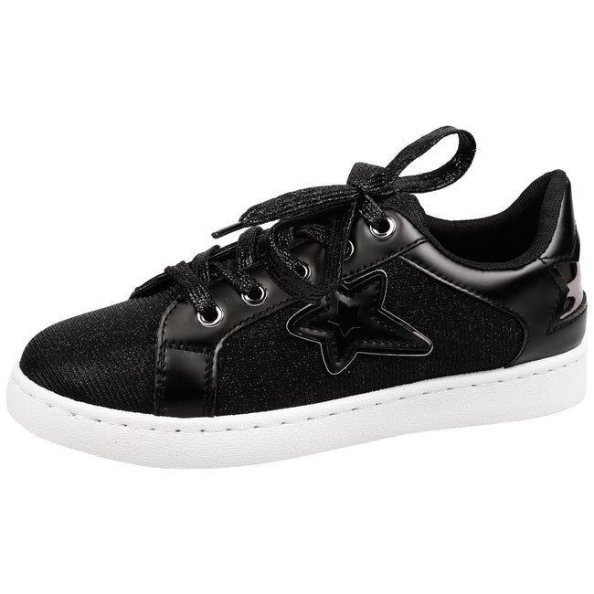 Liberty Girls Lace Up Star Trainers in Black - Feet First Fashion