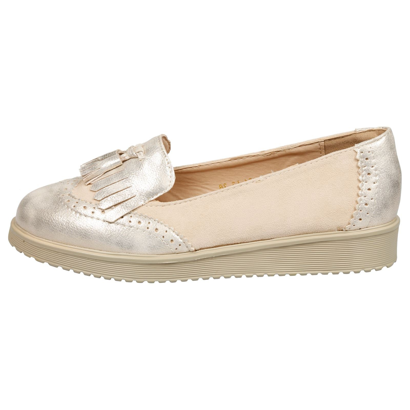 Leilani Two Tone Tassel Loafers in Beige Faux Suede & Gold Shimmer