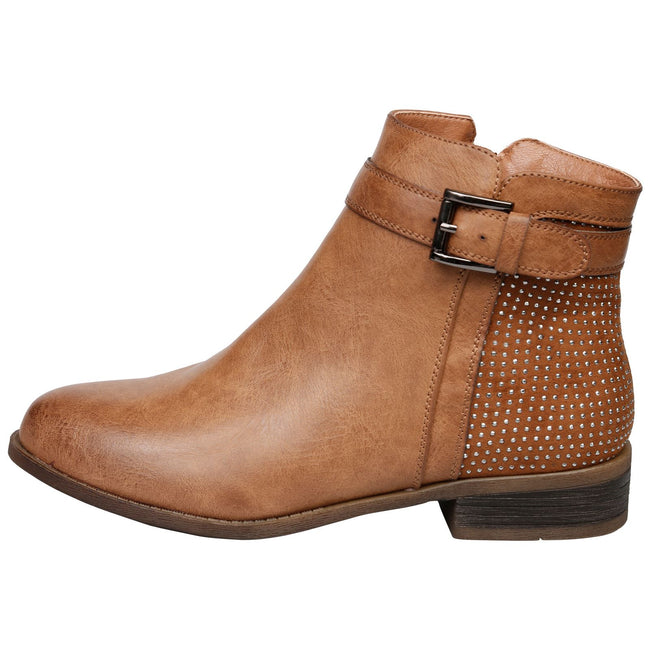 Amirah Diamante Ankle Boots in Camel - Feet First Fashion