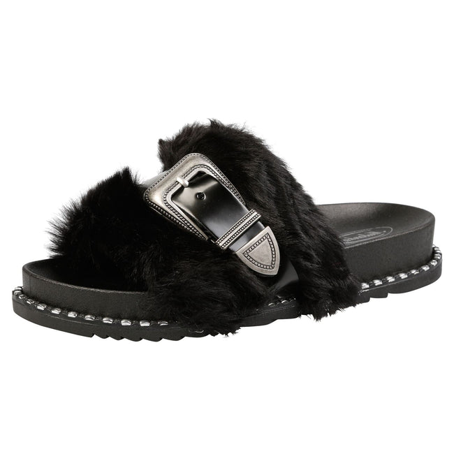 Taya Buckled Furry Sliders in Black
