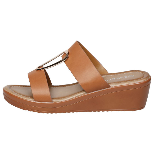 Maude Large Size Wedge Sandals in Camel Faux Leather - Feet First Fashion