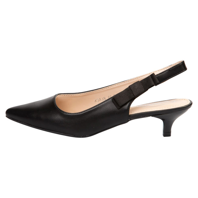 Alora Slingback Pumps in Black Faux Leather - Feet First Fashion
