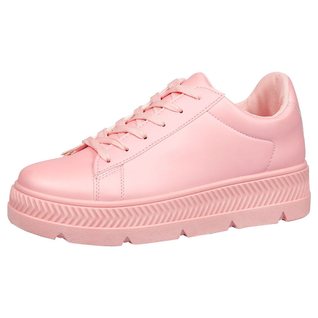 Cambridge Chunky Flatform Creepers in Pink Faux Leather