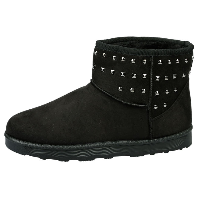 Tonya Studded Ankle Boots in Black Faux Suede