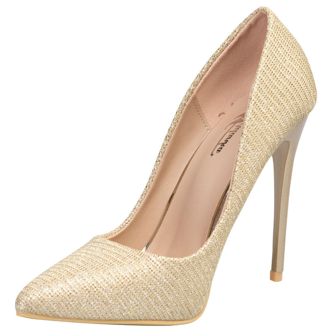 Laverne Pointed Toe Court Shoes in Gold Shimmer - Feet First Fashion