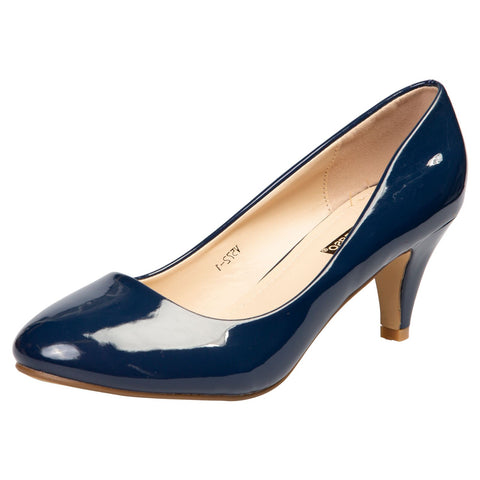 Cherie Bow Detail Low Heel Court Shoes in Navy Blue Patent