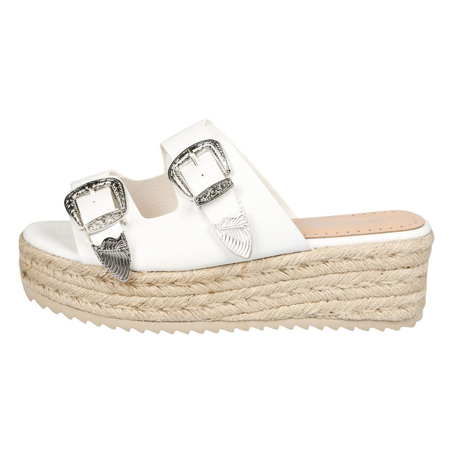Bernie Buckle Detail Flatform Espadrille Sliders in White Faux Leather