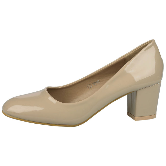 Yvonne Classic Block Heel Court Shoes in Nude Beige Patent