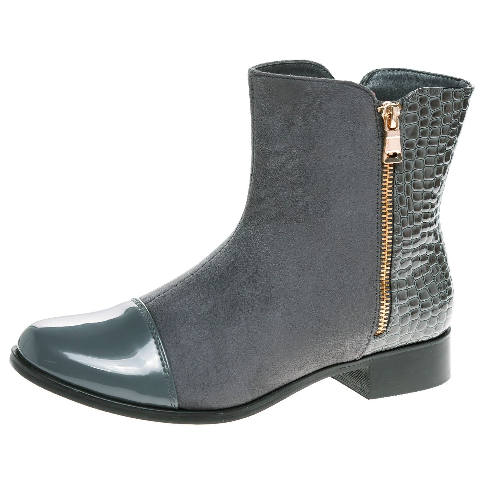 Gianna Two Tone Ankle Boots in Grey
