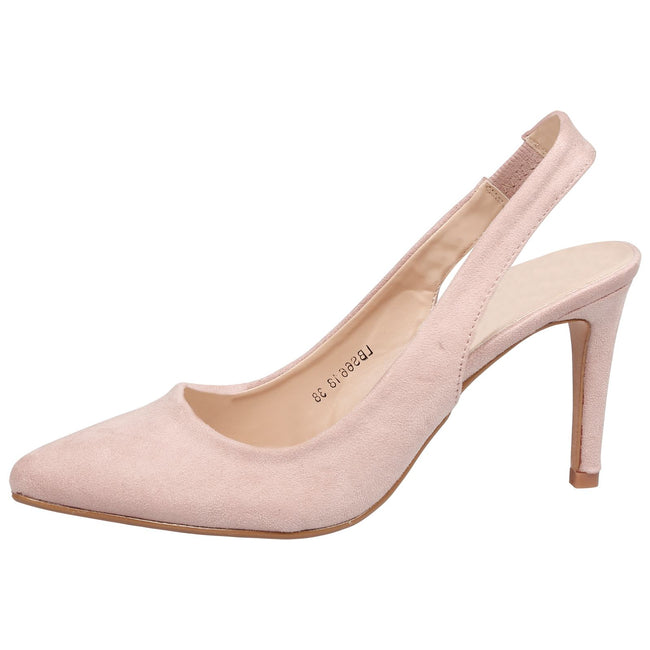 Prudence Slingback Pumps in Nude Faux Suede