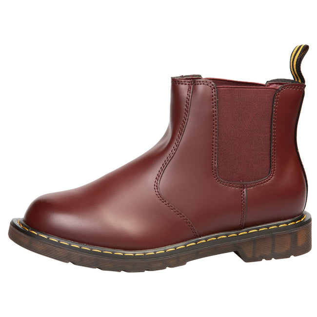 Sarai Chelsea Ankle Boots in Wine Red Faux Leather - Feet First Fashion